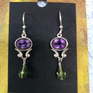 Amethyst & Peridot sterling silver drop earrings